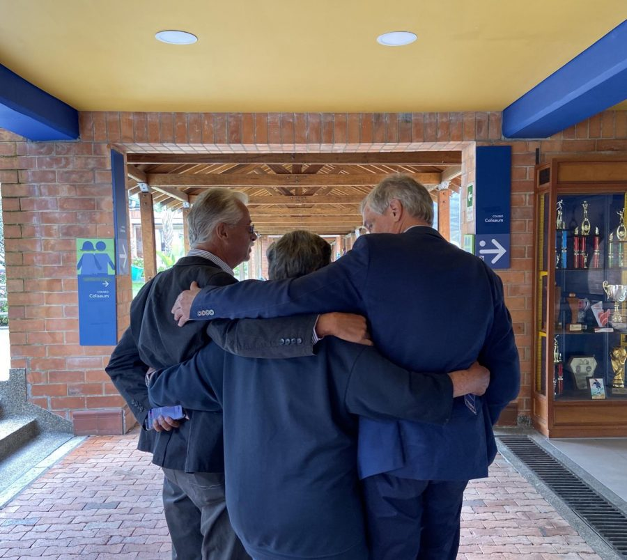 Federico Prussman, Class of '69, tours the TCS campus with old friends from school.