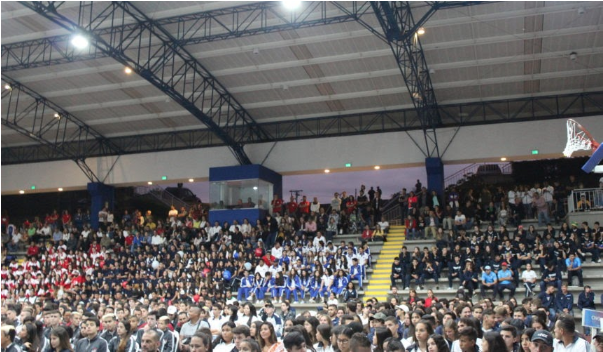 Athletes participate in the closing ceremony of this year's Binational Games in Armenia, Colombia.