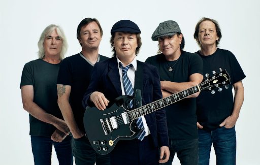 Cliff Williams, Phil Rudd, Angus Young, Brian Johnson and Stevie Young of AC/DC, making history together since 1975.