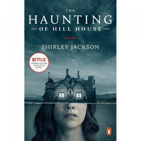 """Eleanor Vance, one of the four main characters, is pictured on the book cover along with Hill House. Shirley Jackson's novel portrayed horror in a psychological rather than paranormal manner, and Eleanor's mental degradation was a pivotal element in the story. """"Jackson was the first author to understand that houses aren't haunted – people are. All the most terrible specters are already there inside your head, just waiting for the cellar door of the subconscious to spring open."""" said author Joe Hill."""
