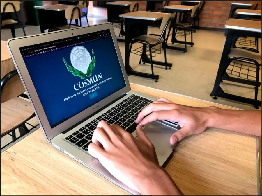Antonio Lugo, Grade 11, enters the COSMUN website to research information on the event.
