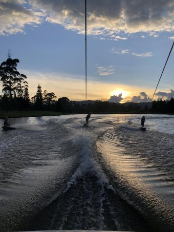 By Sofia Palau, three wake boarders riding the in the Christmas celebration in the club Campestre of llano grande before the quarantine.