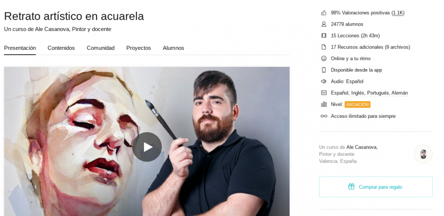 One of the website's most popular courses directed by well-known Spanish artist Alejandro Casanova. During this course, users are able to understand how to sketch out the basic proportions of the human head, as well as the different things to have in mind when using watercolor.