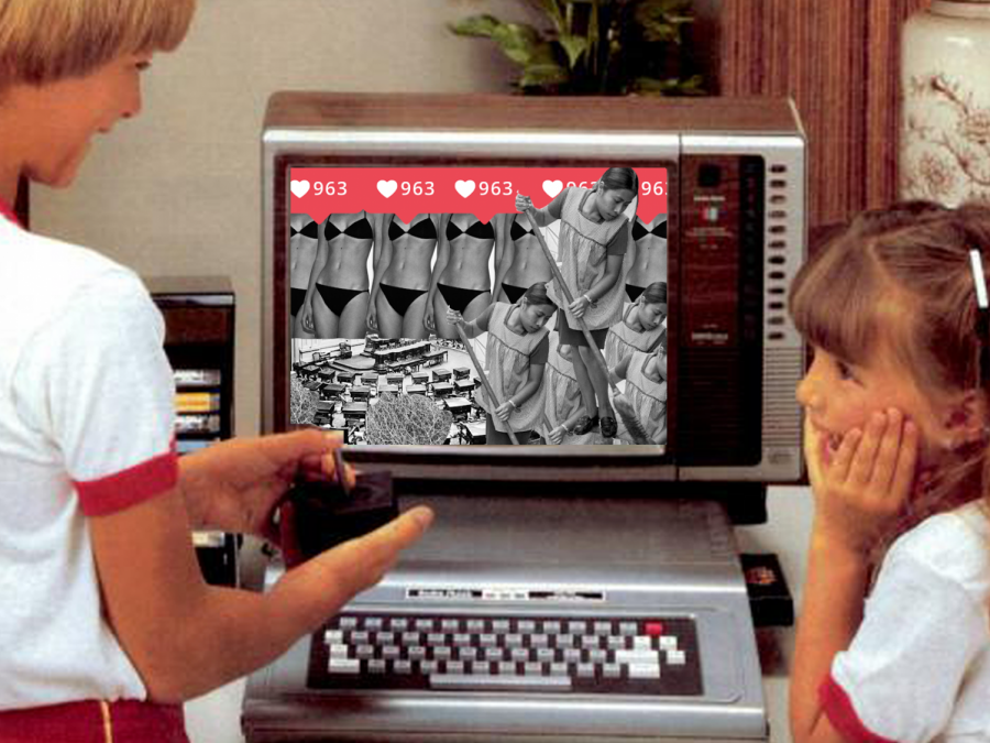 A mother and a daughter watch a television screen depicting Instagram likes, a sweeping housekeeper, the ideal woman's